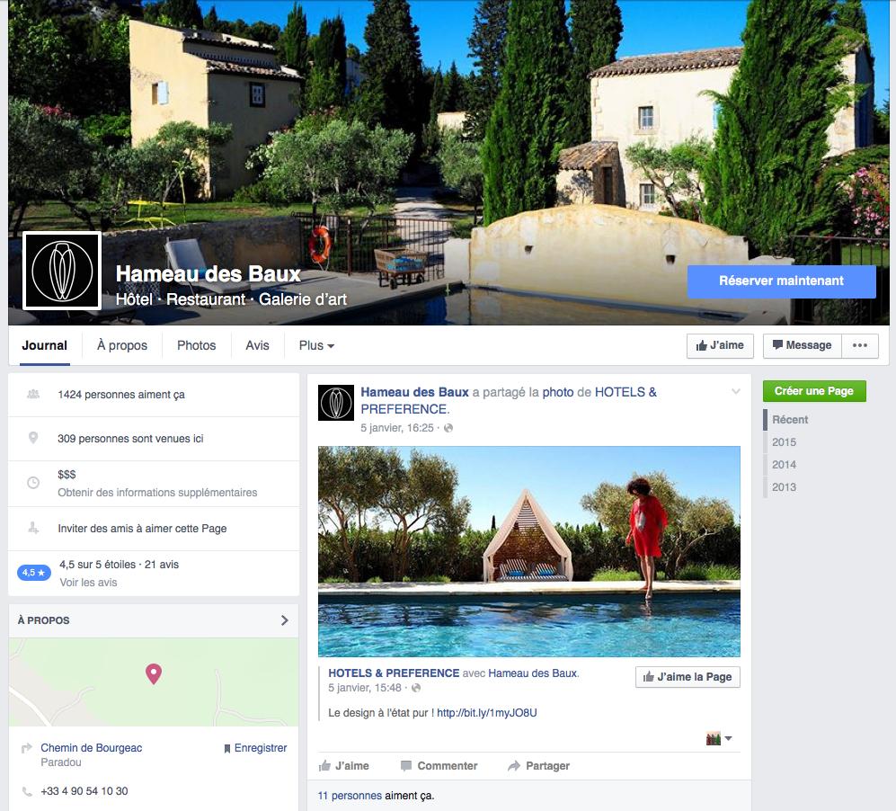 page Facebook hotel